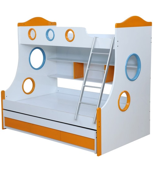 Remo Bunk Bed With Storage In Glossy White Orange Colour By Royal Oak