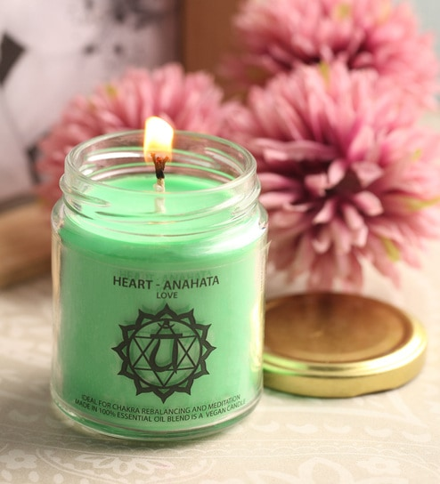 Meditation Rose & Peppermint Heart Chakra Essential Oil Healing Therapy  Scented Candle by Resonance