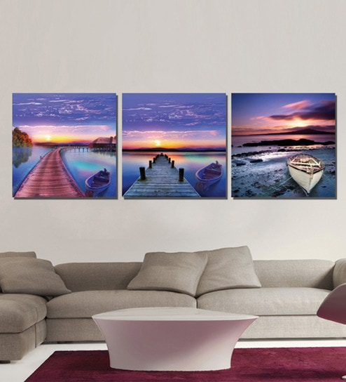 Multiple canvas painting wooden 12 x 12 inch framed 3 piece digital art print set by retcomm art