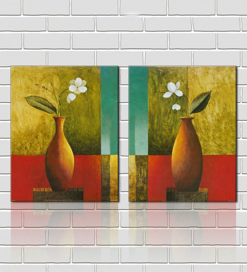 Buy Flower Vase Brown Wooden 18 x 18 Inch Framed 2-piece Painting ...