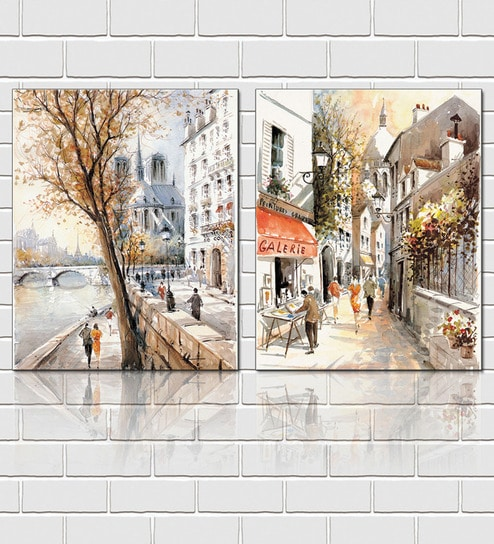 Buy Framed Multiple Canvas Paintings Scenic beauty of a european ...