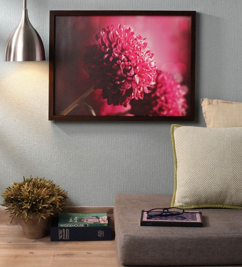 Wooden 18 x 1 x 24 Inch Retcomm Pink Flowers Framed Canvas Painting by  Retcomm Art