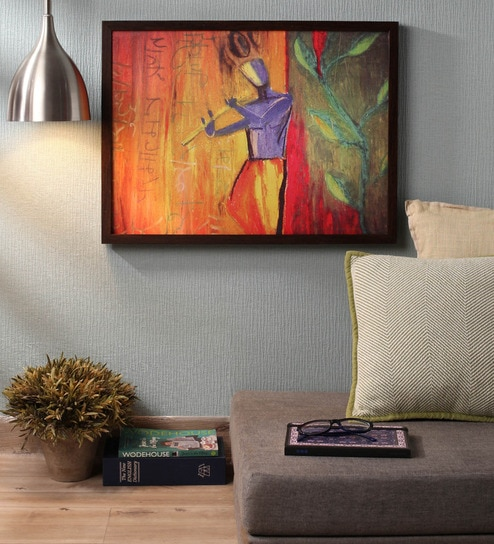 Wooden 24 x 1 x 18 Inch Lord Krishna with Flute Framed Canvas Painting by  Retcomm Art