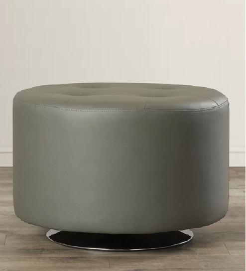 Peachy Stoma Revolving Round Leatherette Ottoman In Grey Colour By Workspace Interio Machost Co Dining Chair Design Ideas Machostcouk