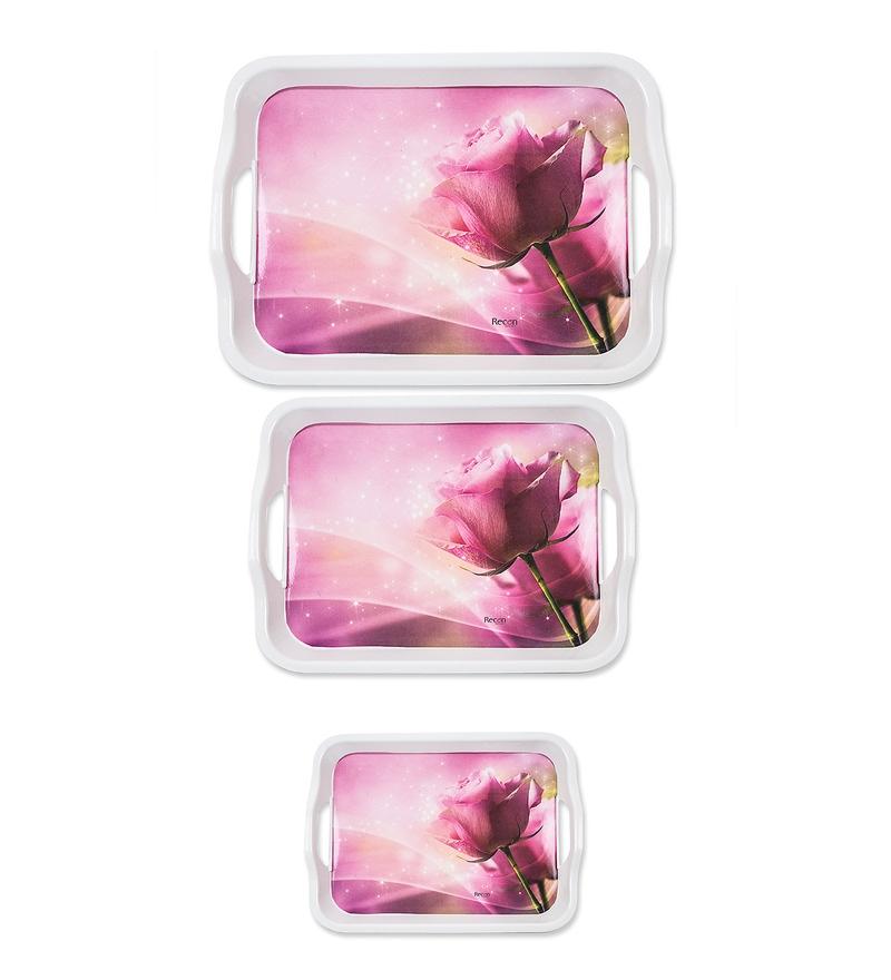 Recon Melamine 3-Piece Pink Rose Tray Set