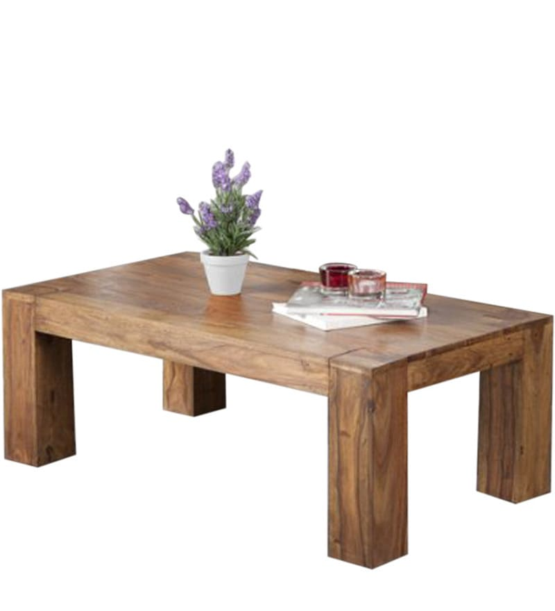 Buy Low Height Solid Coffee Table By Wood Dekor Online: Rectangular Low Seated Coffee Table In Natural Polish By