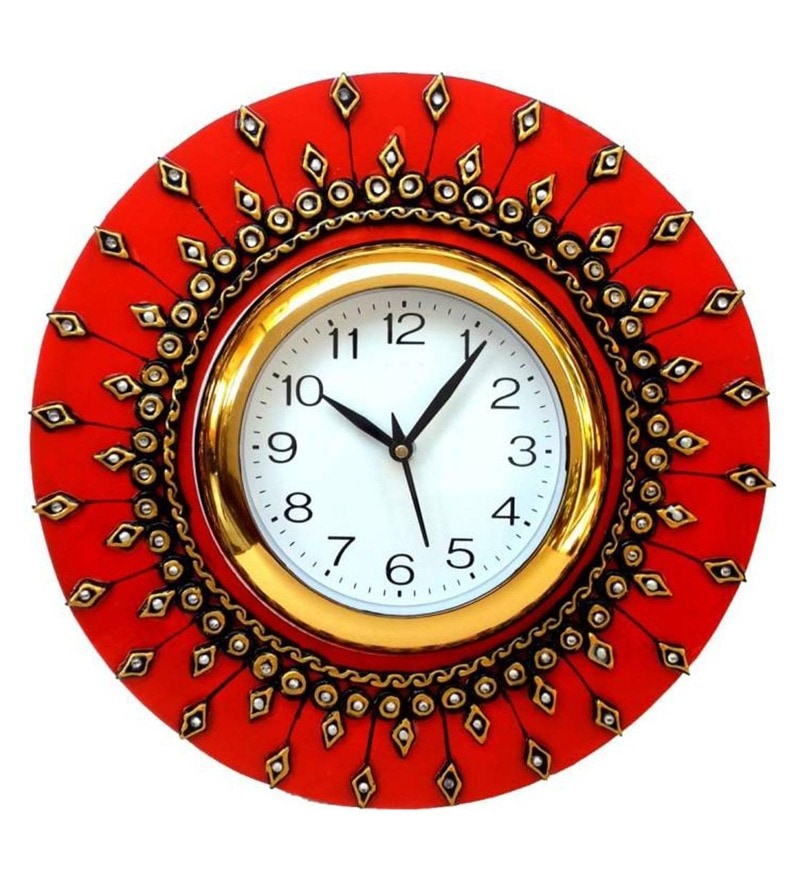 Red & Gold Wood 12 x 1 x 12 Inch Wall Clock Art of Jodhpur