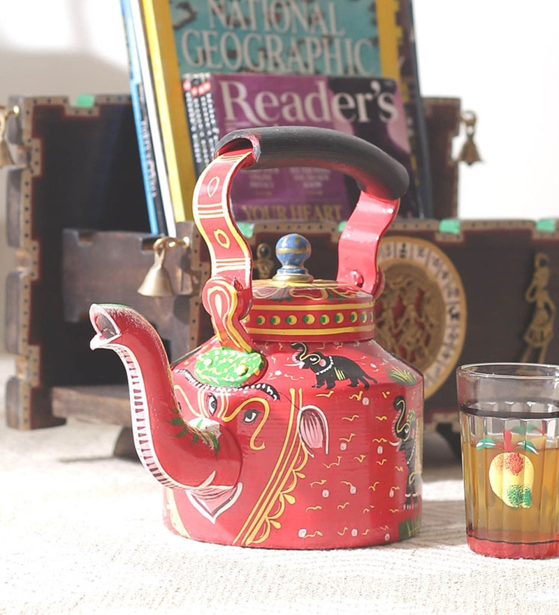 Red Aluminium Hand Painted Elephant Kettle Showpiece by VarEesha