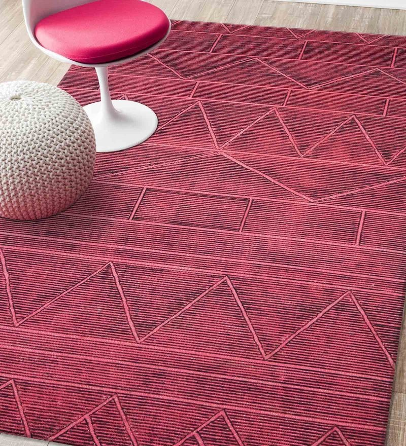Red Blended Wool 60 x 96 Inch Matrix Design Low Pile Hand Tufted Carpet by Designs View