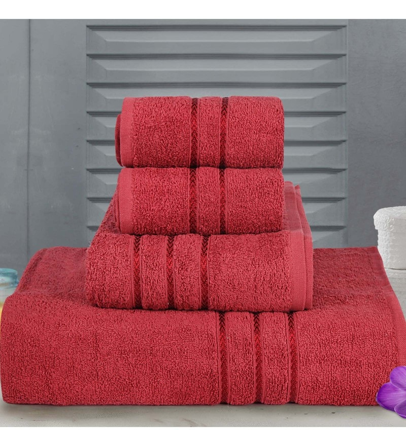 Red Cotton Hand, Medium Bath & Regular Bath Towel - Set of 4 by Bombay Dyeing