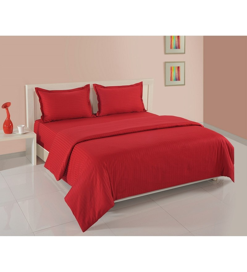 Red Cotton King Size Bedding Set - Set of 4 by Swayam