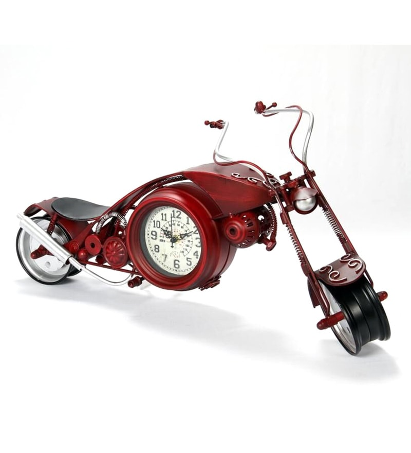 Red Metal Bike Desk Clock by V Decor