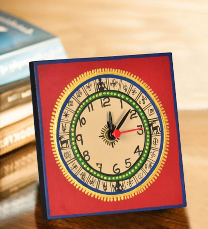Red Recycled Wood Warli Handpainted Desk clock by ExclusiveLane