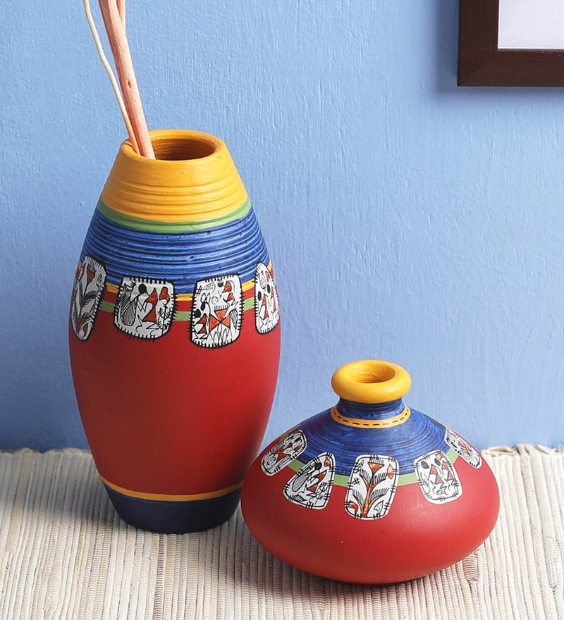 Red Terracotta Warli Painted Vases by VarEesha - Set of 2