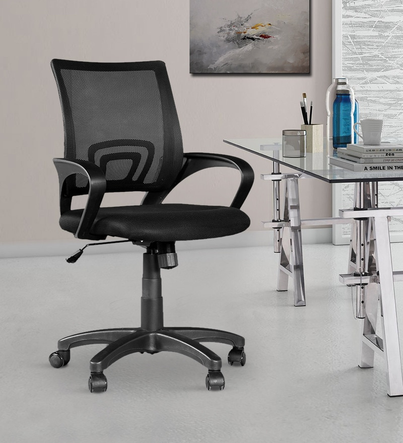 Regus Low Back Mesh Chair in Black Colour by Hometown