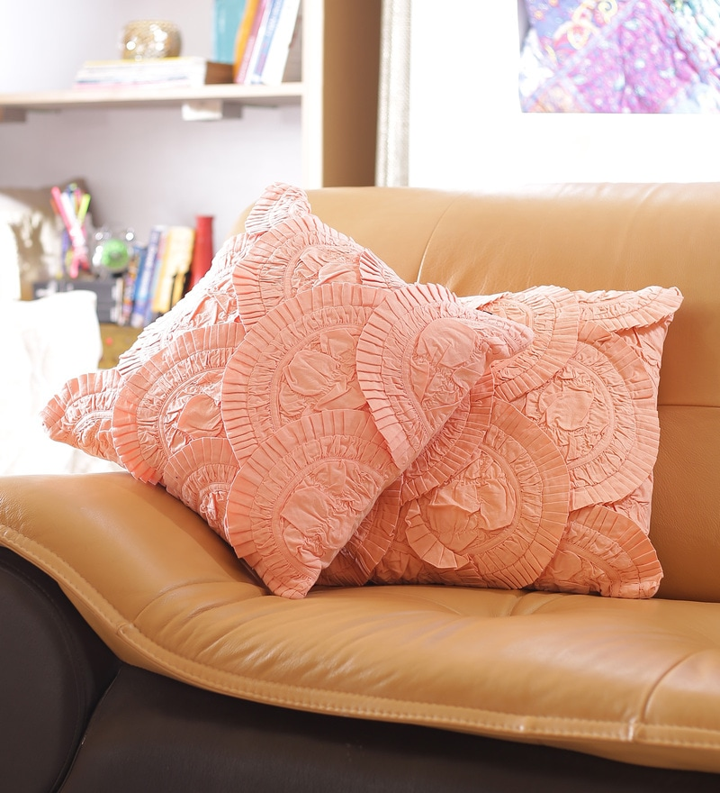 Peach Cotton 16 x 16 Inch Designer Cushion Cover - Set of 2 by Reme