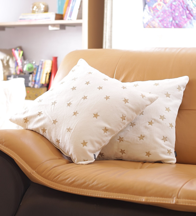 White Cotton 16 x 16 Inch Embroidered Cushion Cover - Set of 2 by Reme