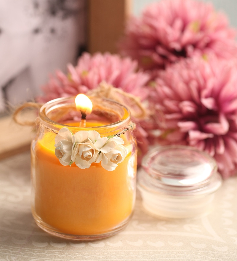 Jasmine & Tuberoses Aroma Natural Wax Decorative Jar Scented Candle by Resonance