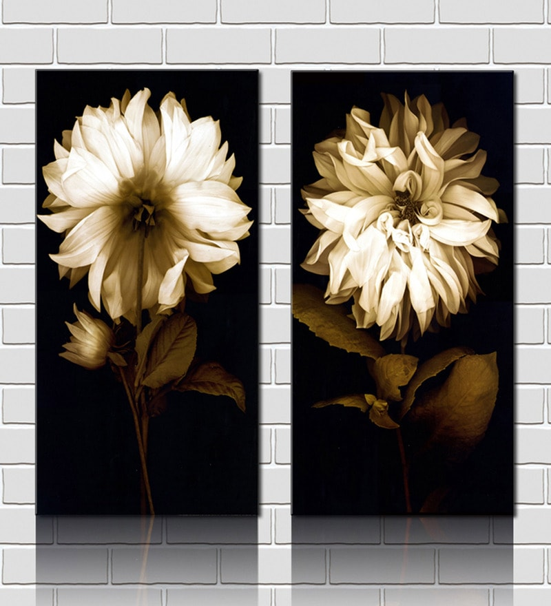 Chrysanthemum White Wooden 24 x 18 Inch Framed 2-piece Painting Set by Retcomm Art