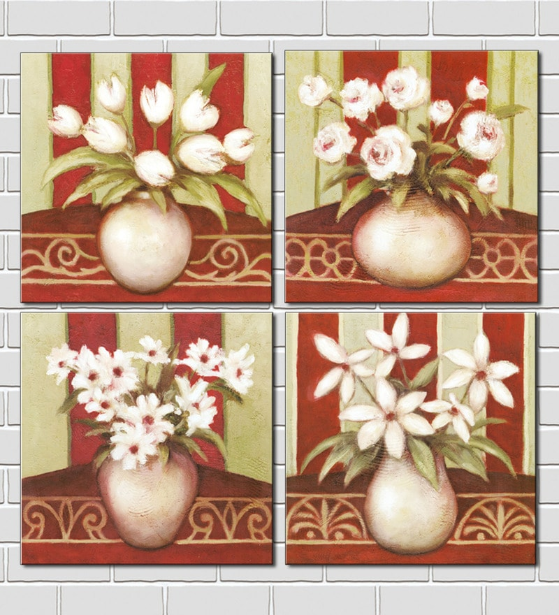 Retcomm Art Multiple Flowers Canvas Painting Wooden 12 x 12 Inch 4-piece Framed Art Print