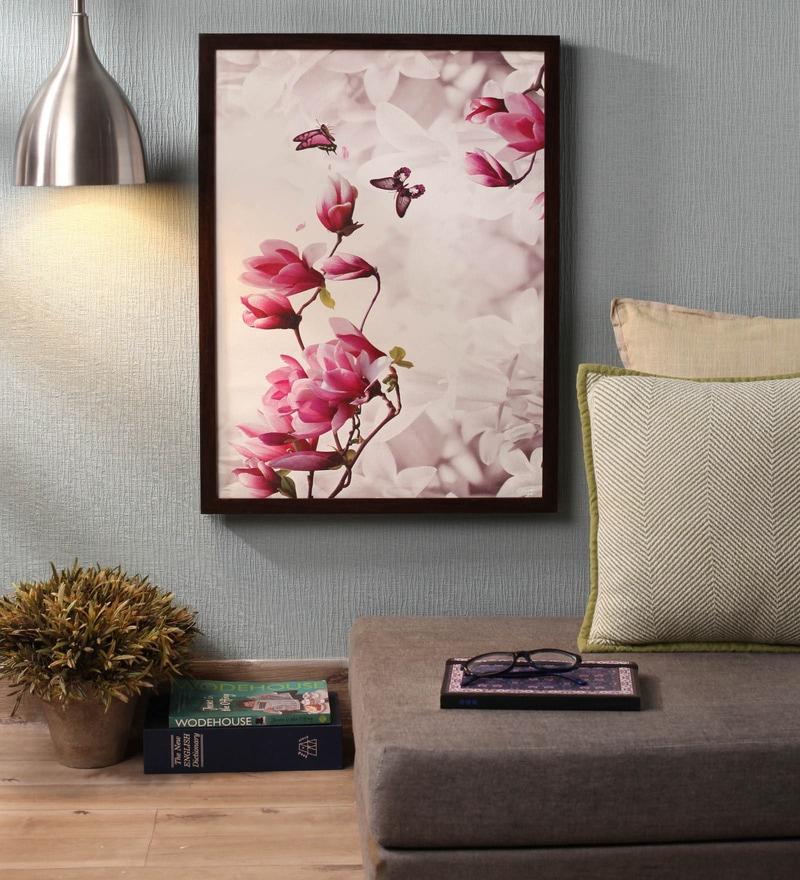 Wooden 24 x 1 x 18 Inch Retcomm Butterflies N Flowers Framed Canvas Painting by Retcomm Art
