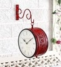 Red Brass Double Side Vintage Railway Clock Wall Clock by Unravel India