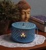 Rednbrown Blue Metal Candle Holder