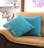 Blue Cotton 16 x 16 Inch Digital Print Cushion Cover - Set of 2 by Reme