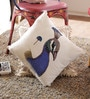 Blue Cotton 16 x 16 Inch Embellished Cushion Cover - Set of 2 by Reme
