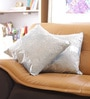 Blue Cotton 16 x 16 Inch Embroidered Cushion Cover - Set of 2 by Reme