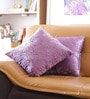 Purple Cotton 16 x 16 Inch Embroidered Cushion Cover - Set of 2 by Reme