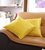 Yellow Cotton 16 x 16 Inch Embroidered Cushion Cover - Set of 2 by Reme