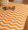 The Rug Republic Orange and Ivory Cotton 91 x 63 Inch Area Rug