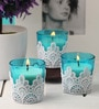 Candles Blue Lace Decorative Candle - Set of 3 by Resonance