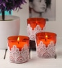 Resonance Candles Orange Lace Decorative Candles - Set of 3