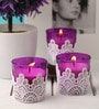 Resonance Candles Pink Designer Lace Candles - Set of 3