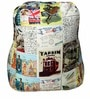 Rester Bean Bag with Beans with Travel Print by Sattva