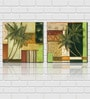 Retcomm Framed Multiple Canvas Paintings Coconut tree in front of colorfully painted house balcony and wall