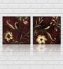 Retcomm Framed Multiple Canvas Paintings Brown Vase White Flowers Dark Background