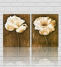 Retcomm Art Flower n Wood White Wooden 18 x 12 Inch Framed 2-piece Painting Set