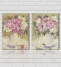 Retcomm Framed Multiple Canvas Paintings White and Pink Flowers in White Shaded Flower Vase