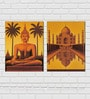 Retcomm Framed Multiple Canvas Paintings Sunset Color Buddha and Beautiful Taj Mahal