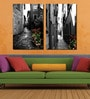 Framed Multiple Canvas Paintings Beautiful Town with Beautiful Color Shades by Retcomm Art