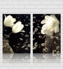 Retcomm Art White Flowers Wooden 18 x 18 Inch Framed 2-piece Digital Art Print Set