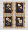 Framed Multiple Canvas Paintings Multiple flowers sketches in crem color back grounds by Retcomm Art