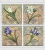 Retcomm Art Flower Ensemble Multicolor Wooden 12 x 12 Inch 4-piece Framed Art Print Set