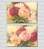 Retcomm Art Red, Pink, White, and Orange Flowers Wooden 18 x 12 Inch 2-piece Framed Digital Art Print Set