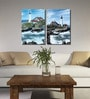 Retcomm Framed Multiple Canvas Paintings Light House Sea Side Town