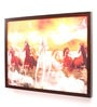 Wooden 24 x 1 x 18 Inch Running Horses Framed Canvas Painting by Retcomm Art
