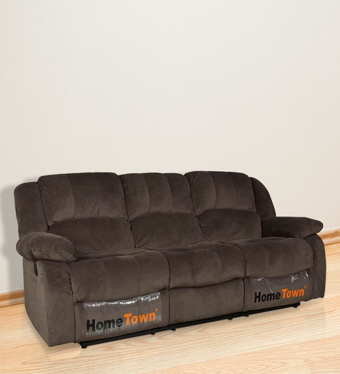 Buy Rhea Three Seater Manual Recliner In Brown Colour By Hometown